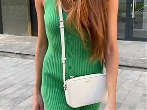 Ribbed green button dress