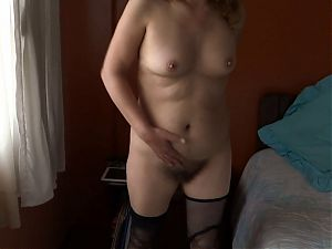 Hairy mother turns on showing off to her stepsons friends