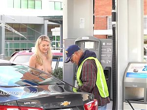 Filling up at the gas station TOPLESS