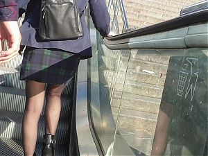 Pantyhose and upskirt on stairs