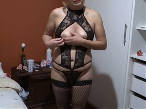 Our very horny maid shows off at home with erotic lingerie