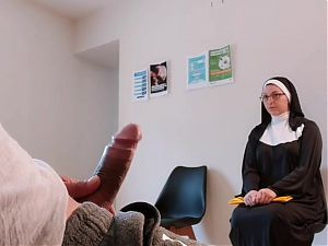 I take out my cock in front of this religious woman in the waiting room
